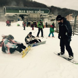 ©2014 Blue Ridge Life Magazine : Photos By Yvette Stafford : The weekend before Christmas was a perfect time for people to hit the slopes at Wintergreen Resort this past Saturday - December 20, 2014. Above boarders chat it up.