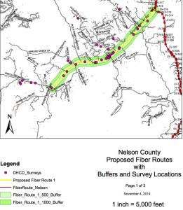 Image via Nelson County Economic Development & Tourism : A recently approved grant will allow Nelson County's Broadband Authority to extend its existing fiber network to additional area along Route 151 south through Nellysford to Route 664 into portions of Beech Grove and north toward Avon and west on Route 6 Mountain Road.