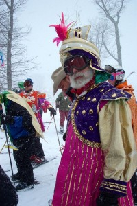 Back in April 2005 Michael Zuckerman was the director of Wintergreen Adaptive Sports. Today he's retired but still very active. This shot was from the March 2005 Mardi Gras parade on the slopes. It's still an annual tradition held at Wintergreen Resort.