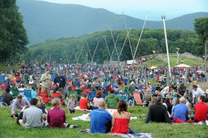 Thousands of people flock to see the fireworks at Wintergreen. Here several hundred begin showing up to view the fireworks that started a few minutes after full darkness on Saturday - July 4th, 2015.
