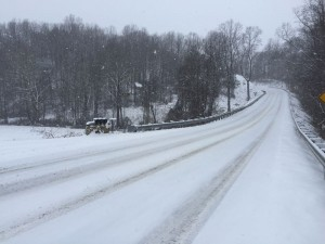 """©2016 Blue Ridge Life Magazine : Photo By Tommy Stafford : Most roads across Central Virginia looked much like this stretch of Route 151 in Southern Nelson County, Virginia on Monday morning. As much as 6-7 """" of snow fell in parts of the area by Monday afternoon."""