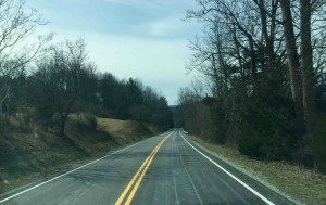 ©2016 Blue Ridge Life Magazine : Photo By Tommy Stafford : This stretch of Route 151 south of Brent's Gap in Nelson County is already pretreated with a salt solution in preparation for an approaching winter storm that will affect the Blue Ridge area late overnight Sunday into Tuesday.