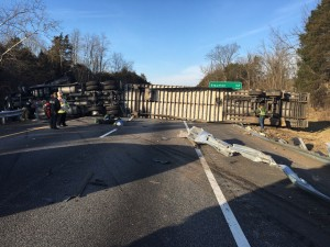 Photo courtesy of Robert Foresman - Rockbridge County Emergency Management Director : This crash on I-81 NB around the 192 MM was one of three tractor trailer incidents Thursday afternoon that halted traffic on Central Virginia Blue Ridge roads.