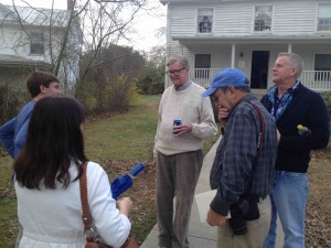 ©2014-2016 Blue Ridge Life Magazine : Photo By Tommy Stafford : In April 2014 Earl Hamner, Jr. (center) was back in his hometown of Schuyler, Virginia during the filming of a documentary on his life. He was joined in front of his old home place by Woody Greenberg (center front and BRL writer / photographer) along with his son Scott Hamner to the right.