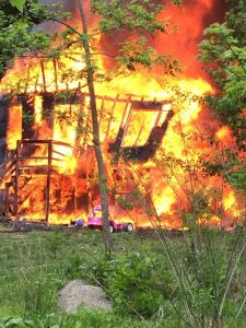 Photo courtesy of Lovingston Volunteer Fire Department : This house fire totally destroyed the home on Mayswood Lane Monday - May 16, 2016.