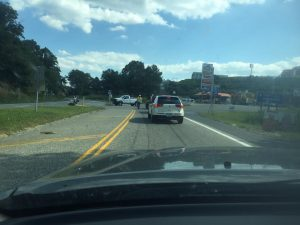 Photo By Yvette Stafford BRL: Just before 4PM Tuesday afternoon another accident occurred between a semi and a car in the vicinity of Old Route 6 ( Afton Mountain Road) and Route 250. As BRL Publisher Yvette Stafford says below, traffic was then diverted to the BRP.