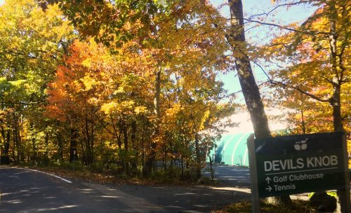 ©2016 Blue Ridge Life Magazine : Photo By Tommy Stafford : The trees just outside the Wintergreen Tennis building on Devils Knob were ablaze with color Wednesday afternoon - October 19, 2016.