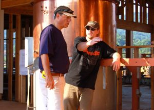 ©™2008-2016 Nelson County Life Magazine & Blue Ridge Life Magazine : Photos By Tommy Stafford : Back in August of 2008 Devils Backbone Founder Steve Crandall (left) listens as Head Brewmaster Jason Oliver discusses placement of brewing pots in what's now Devils Backbone Brewpub & Meadows. In the shot above the walls of the brewery and restaurant hadn't even been put on yet. :