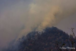 Photo by Debbie Wilson - Lukay Photography - Piney River, Virginia : Smoke rises from the Mount Pleasant wildfire late Wednesday. - November 23, 2016. The fire has now consumed over 6400 acres as of Thanksgiving morning.