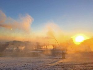 Photo Courtesy of Wintergreen Resort : With cold temps back in the air snowmaking resumed Friday morning at Wintergreen.