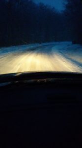 Photo By Curtis Lawhorne : just before daylight Tuesday the roads in the higher elevations leading to Wintergreen were ice and snow covered. They have since been cleared by road crews. March 14, 2017