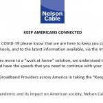 Nelson : Nelson Cable Outlines Bandwidth Services During Coronavirus Outbreak